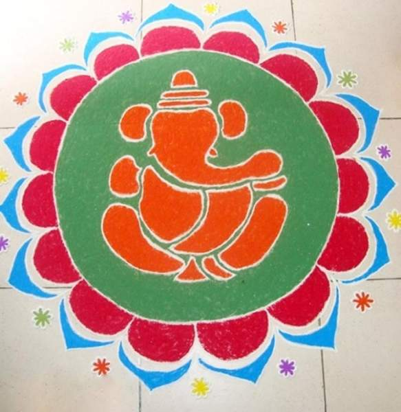 Ganesha Rangoli Design For Vinayaka Chavithi