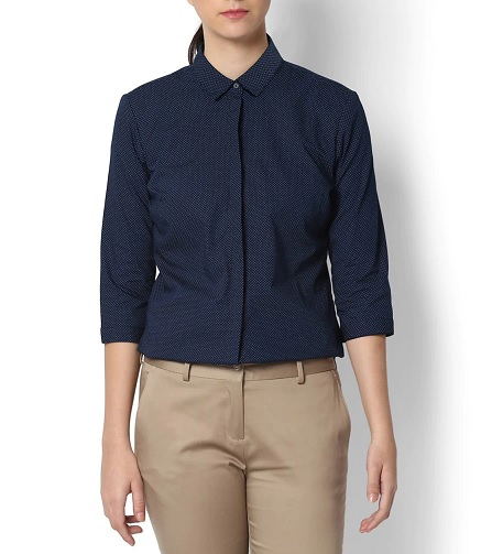 Navy Blue Formal Cotton Shirt