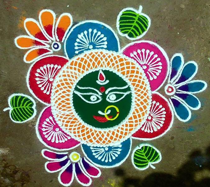 Simple Devi Rangoli Design For Beginners
