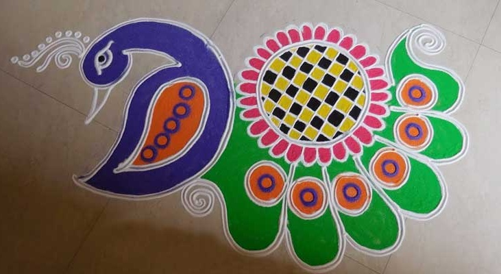 Simple Peacock Rangoli Design For Beginners
