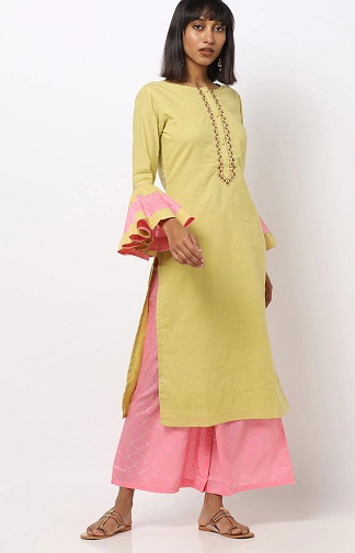 Bell Sleeves Kurti With Palazzos