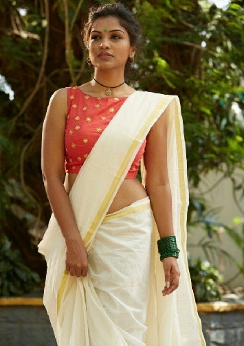 Boat Neck Blouse for Kerala Saree