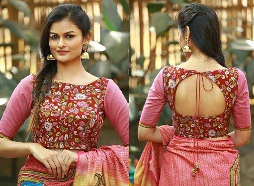 Cotton Saree With Kalamkari Blouse
