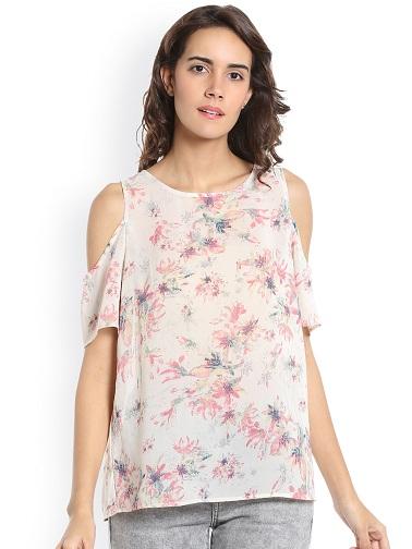 Floral Chiffon Cold Shoulder Top3