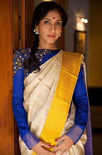 Kerala Saree with Blue Blouse