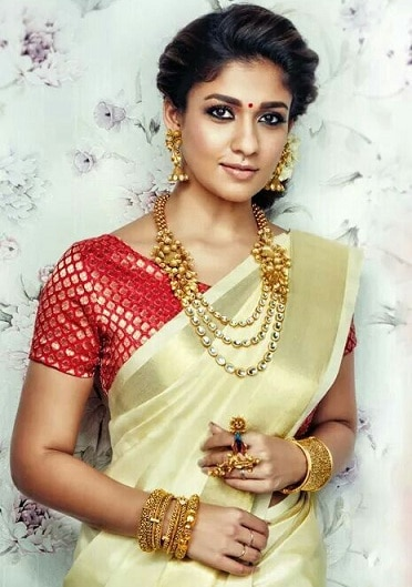 Kerala Saree with Brocade Blouse