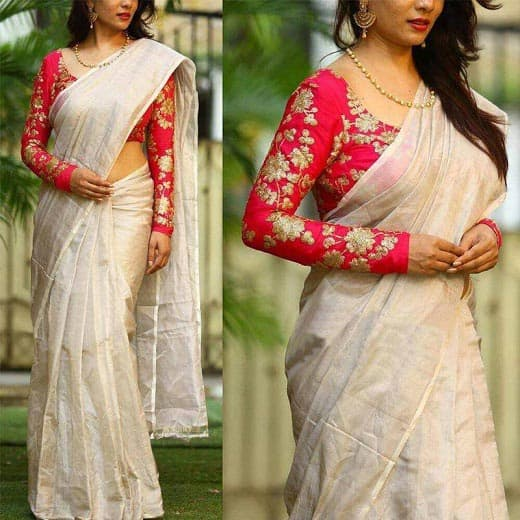 Kerala Saree with Full Sleeve Blouse