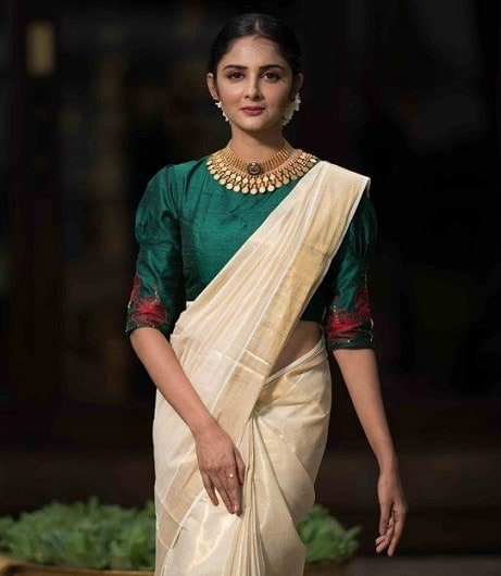 Kerala Saree with Green Blouse