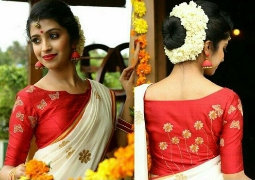 Kerala Saree with Red Blouse