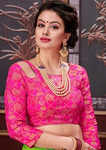 Pink Brocade Blouse Design