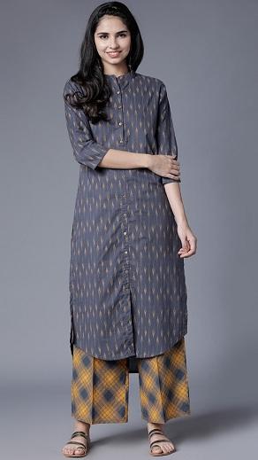 Shirt Style Cotton Kurti With Palazzo