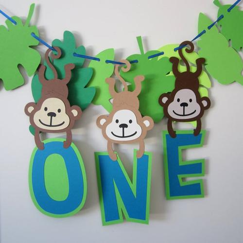 Monkey Banner For First Birthday