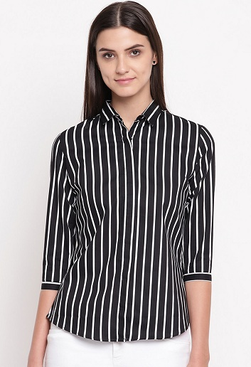 Black And White Striped Formal Shirt For Women