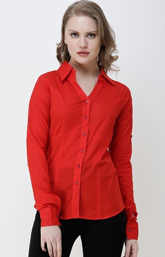 Red Slim Fit Formal Shirt For Women