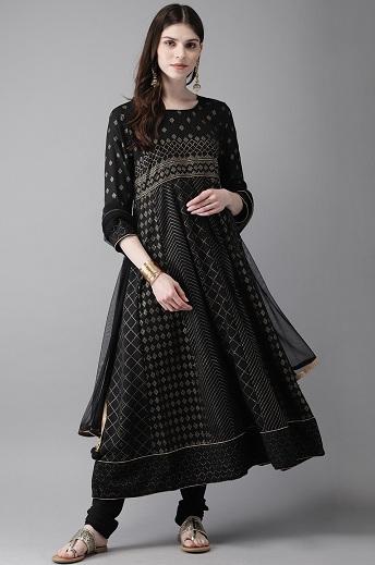 Black Printed Anarkali Churidar