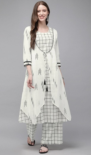 Black And White Check Kurti With Jacket