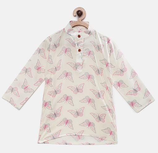 Butterfly Print Kurta Shirt