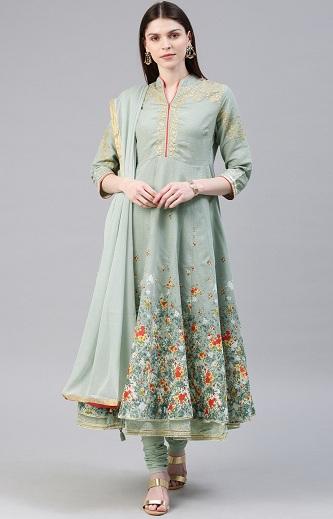 Floral Green Anarkali Churidar