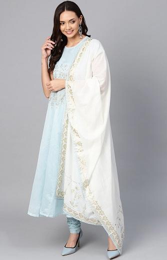 Long Embroidered Anarkali Churidar