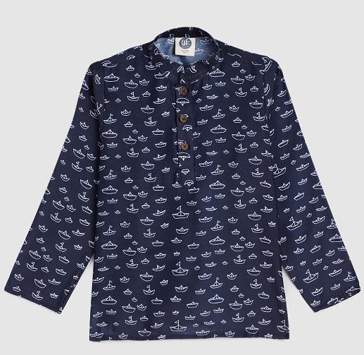 Navy Blue Kurta Shirt For Boys