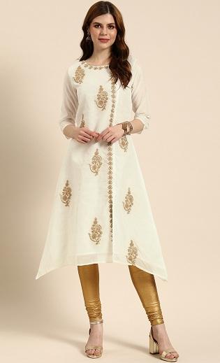 Off White Designer Kurti With Gold Work