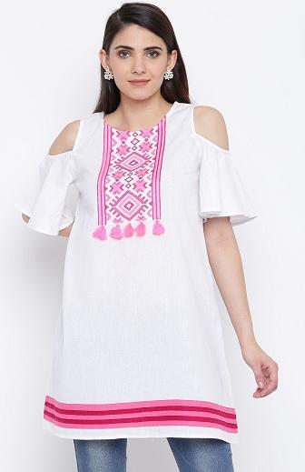 Pink And White Short Cold Shoulder Kurti