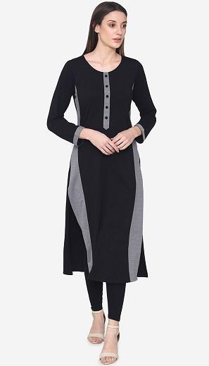 Woolen Long Kurti Design