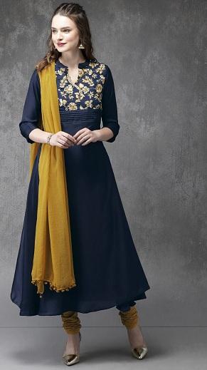 Yellow Cotton Anarkali Churidar