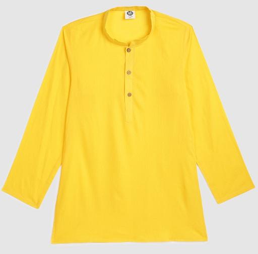 Yellow Plain Shirt Kurta