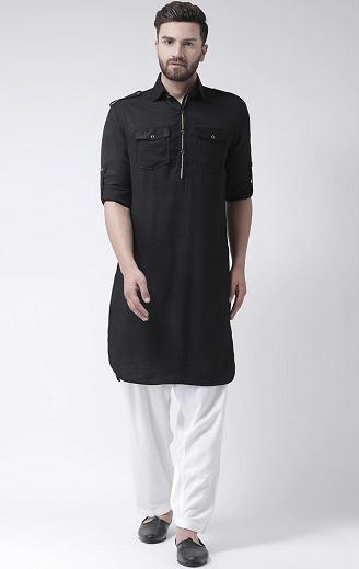 Black Pathani Kurta For Men
