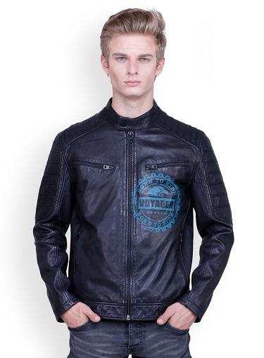 Blue Sports Leather Jacket For Men
