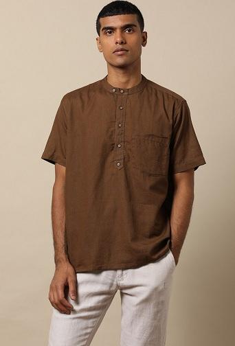 Brown Men's Casual Shirt Kurta