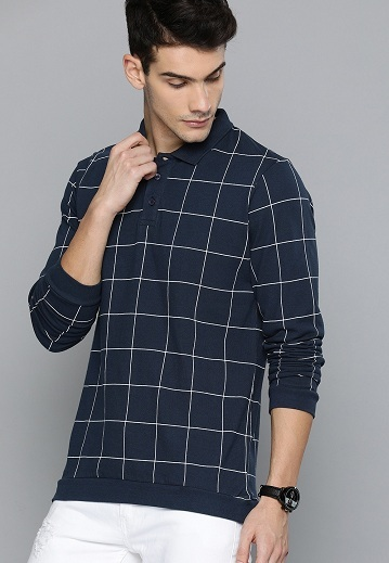 Checked Full Sleeve T Shirts With Collar