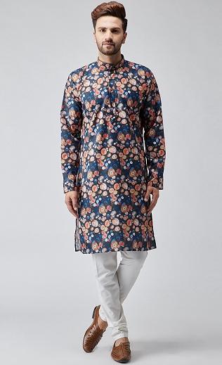 Cotton Printed Kurta For Men