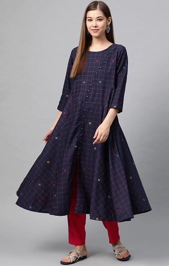 Designer Checked Kurti By Sangria