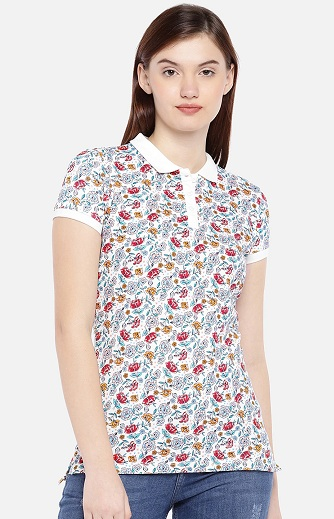 Floral Print Collar T Shirt