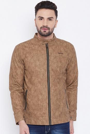 Men's Tan Brown Solid Biker Jacket