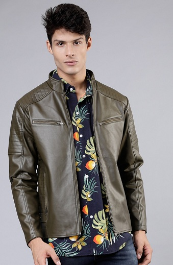 Olive Green Unlined Faux Leather Jacket For Men