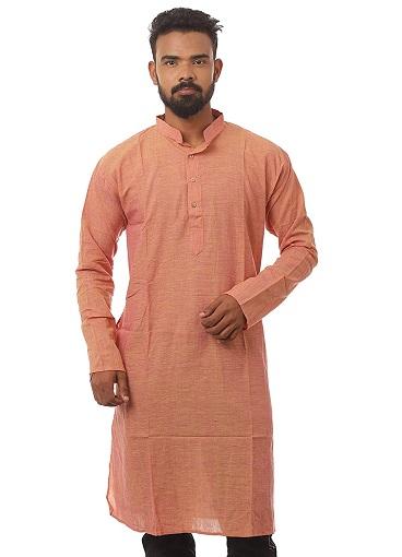 Orange Cotton Kurta For Men