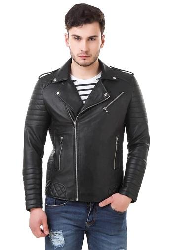 Panelled Zip Front Black Leather Biker Jacket For Men