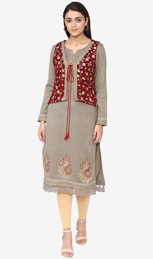 Woolen Kurti Design With Jacket