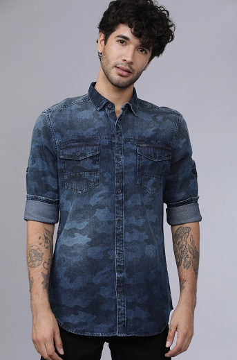 Denim Casual Printed Shirts