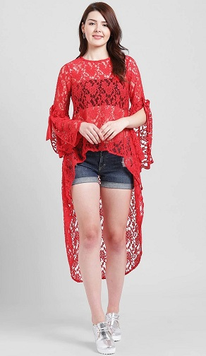 Red High Low Lace Top