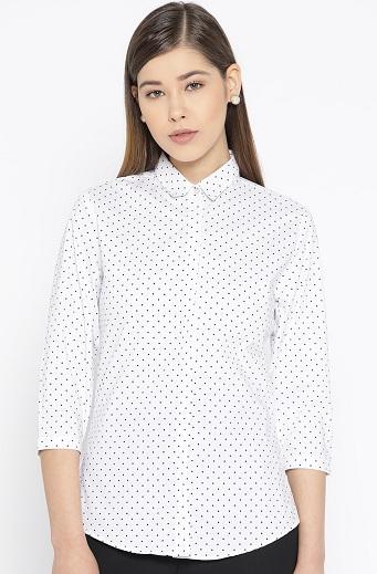White Formal Printed Shirt