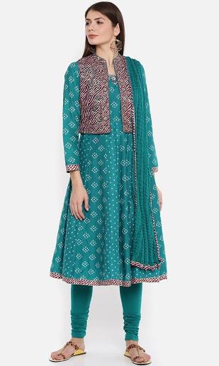 Anarkali Full Sleeve Churidar With Jacket