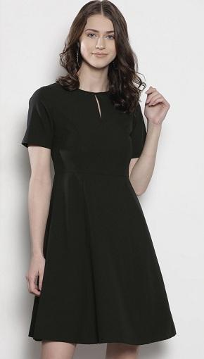 Black Petite A Line Formal Dress