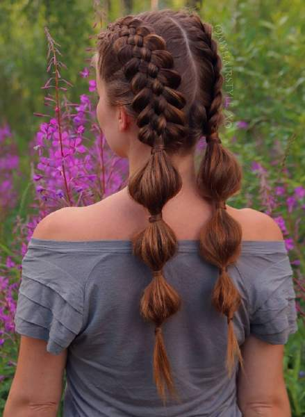 Bubble Puffy Pigtail Braids
