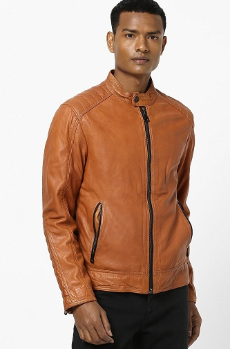 Casual Brown Paneled Leather Jacket For Men