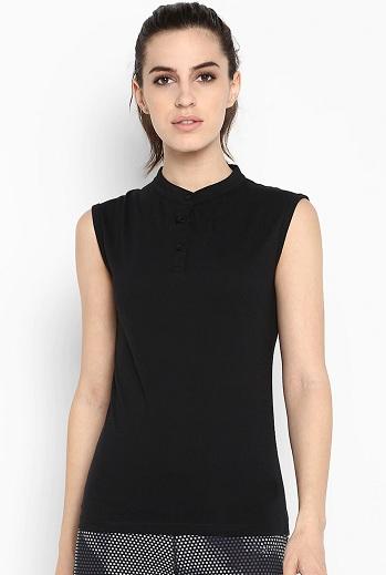 Cotton Sleeveless Collar T Shirt