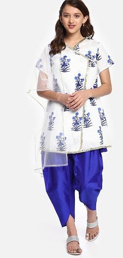 Floral Layered Kurta With Dhoti
